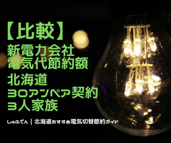 北海道エリア 電気代安いランキング 新電力会社 とかち帯広電力1位 30アンペア契約 三人家族