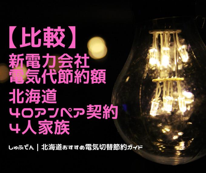 北海道エリア 電気代安いランキング 新電力会社 サニックスでんき1位 40アンペア契約 四人家族