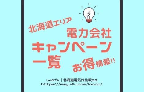 新規申し込むだけでもらえる電気切替キャンペーン一覧!北海道札幌エリア17社20プラン