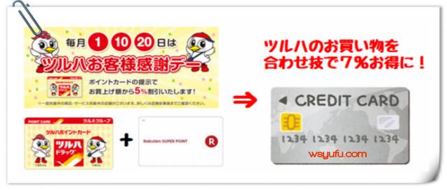 ツルハで年間5000円節約!5%オフ日にクレジットカード払いしツルハ・楽天ポイント獲得する方法