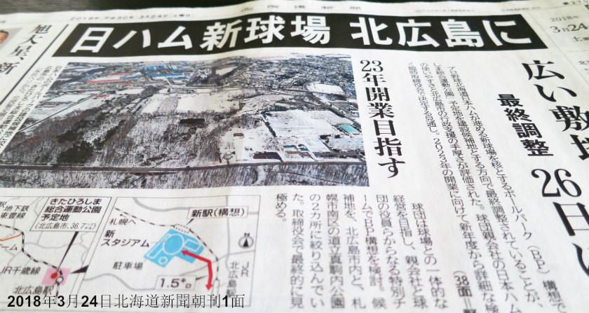 日本ハム新球場北広島市に 北海道新聞朝刊2018年3月24日