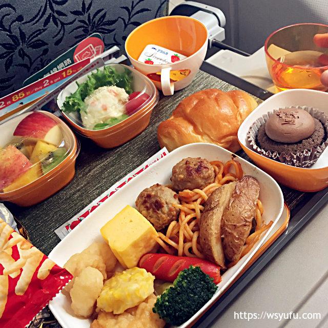 新千歳空港発 台湾旅行 エバー航空 機内食 チャイルドミール