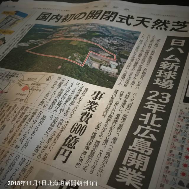 日本ハム新球場 北広島市 正式決定 北海道新聞1面
