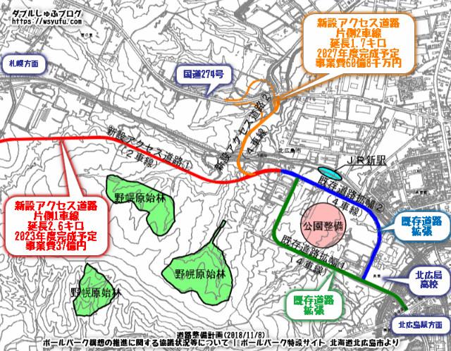 北海道ボールパーク アクセス道路 2018年11月8日分 北広島市