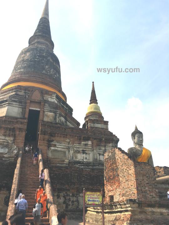 タイバンコク家族旅行 アユタヤ遺跡ツアー ワット・ヤイチャイモンコン