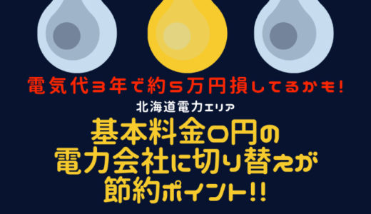 北海道電力エリア 電気代節約 最大ポイント 基本料金0円 新電力会社 切り替え
