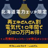 北海道電力エリア looopでんき 再エネどんどん割 電気代節約 最大ポイント 基本料金0円 新電力会社 切り替え