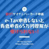 青色申告65万円控除 e-Tax 確定申告 マイナンバーカード申請 札幌