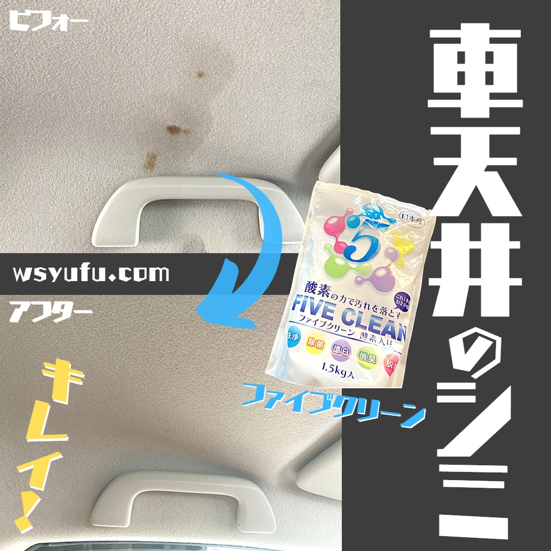 ファイブクリーン シミ汚れ 車天井 酵素配合